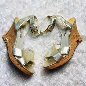 Michael Kors Gold Open Toe Wedge Sandal